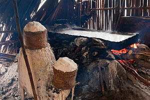 Traditional salt making - brine is boiled in a large open pan over fire of palm fronds for 8hrs, East Timor, August 2010.  -  Jurgen Freund