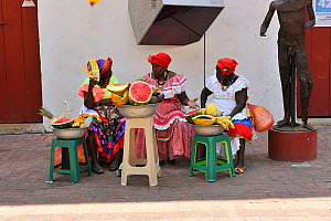 Palenqueras, black women from a community founded by 17th century escaped slaves, selling fruit on the street. Cartagena de Indias, a UNESCO World Heritage City. Bolivar Department, Colombia, February...  -  Luiz Claudio Marigo