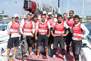"""All4One"" team in marina during the 2011 Audi MedCup Circuit. Cagliari, Sardinia, Italy, July 2011. All non-editorial uses must be cleared individually. - Franck Socha"
