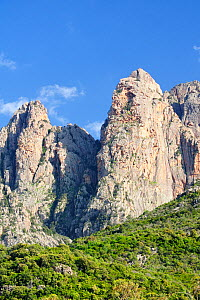 Capo d'Orto crags, the highest coastal peaks in Corsica, rising to 1264m, with Mediterranean forest and maquis scrub around red granite cliffs. A UNESCO World Heritage coastal / marine site within Cor... - Nick Upton