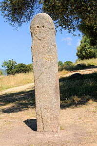 Tall Bronze age granite statue menhir standing stone carved c 3,500 years ago at Filitosa with carved face and trace of a sword. Corsica, France, June 2010. - Nick Upton
