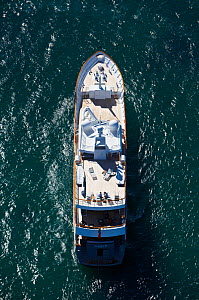 "Aerial image of superyacht ""Axantha II"", Brittany, France, June 2011. All non-editorial uses must be cleared individually.  -  Benoit Stichelbaut"