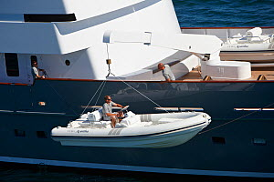 """Launching tender from superyacht """"Axantha II"""", Brittany, France, June 2011. All non-editorial uses must be cleared individually.  -  Benoit Stichelbaut"""