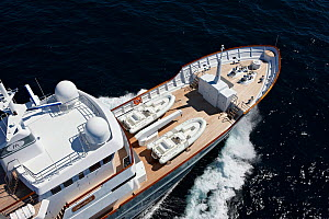"""Aerial image of tenders on the foredeck of superyacht """"Axantha II"""", Brittany, France, June 2011. All non-editorial uses must be cleared individually.  -  Benoit Stichelbaut"""