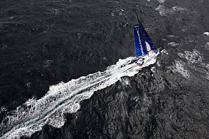 "Aerial view of monohull ""Banque Populaire"" during training ahead of Transat Jacques Vabre 2011. Lorient, Brittany, France, July 2011. All non-editorial uses must be cleared individually.  -  Benoit Stichelbaut"