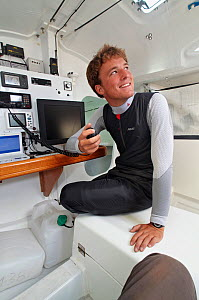 "Skipper Sam Goodchild on board ""Artemis"" ahead of La Solitaire du Figaro, France, July 2011. All non-editorial uses must be cleared individually. - Benoit Stichelbaut"