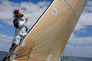 """Skipper Sam Goodchild trimming on board """"Artemis"""" ahead of La Solitaire du Figaro, France, July 2011. All non-editorial uses must be cleared individually.  -  Benoit Stichelbaut"""