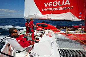 """Crew on board MOD70 trimaran """"Veolia Environnement"""", Concarneau, Brittany, France, June 2011. All non-editorial uses must be cleared individually.  -  Benoit Stichelbaut"""