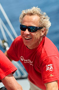"""Portrait of skipper Roland Jourdain on board MOD70 trimaran """"Veolia Environnement"""", Concarneau, Brittany, France, June 2011. All non-editorial uses must be cleared individually.  -  Benoit Stichelbaut"""