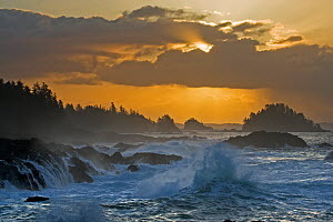 Rough seas crashing against rocky shore in front of a dramatic cloudy sky. The Broken Group Islands, Ucluelet, Vancouver Island, Canada. - Matthew Maran
