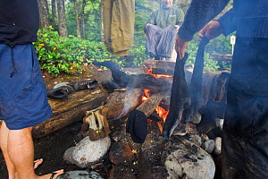 Hikers drying clothes around a campfire. The West Coast Trail, Pacific Rim National Park, Vancouver Island, Canada, September 2010. - Matthew Maran