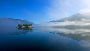 Sea mist and calm coastal waters surrounding a small island. Tofino Inlet, Clayoquot Sound, Vancouver Island, Canada, August 2008. - Matthew Maran