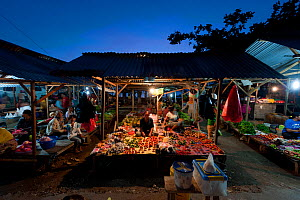 Late afternoon market selling everything from fresh fish and vegetables to cooked meals ready to serve for dinner. Wakatobi, Sulawesi, Indonesia, November 2009.  -  Jurgen Freund