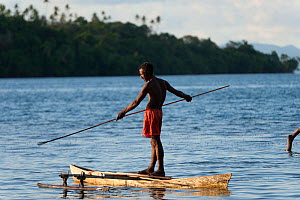 Man spear fishing from his dugout canoe. This is a Marine Protected Area managed by the local community, and fish are abundant. M'buke Island, New Ireland, Papua New Guinea, June 2010 - Jurgen Freund