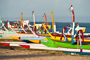 Brightly painted local fishing boats in Bali which still use traditional sails. Bali, Indonesia, July 2009.  -  Jurgen Freund