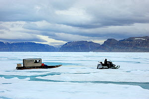 Inuit hunter driving snowmobile with Qamutik (Inuit sledge) on icepack. Arctic Bay, Baffin Island, Nunavut, Canada, June 2011. - Eric Baccega