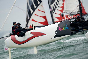 """Alinghi"" during fleet race on day six of the Extreme 40 Sailing Series in Cowes. Isle of Wight, England, August 2011. All non-editorial uses must be cleared individually.  -  Chris Schmid"