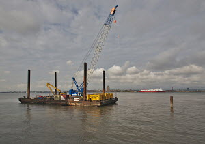 Preparation work for the new Liverpool Ferry Landing Stage, River Mersey, England, July 2011. All non-editorial uses must be cleared individually. - Graham Brazendale