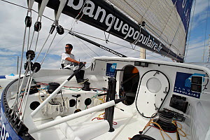 """Armel Le Cleac'h helming on board monohull """"Banque Populaire"""" during training ahead of Transat Jacques Vabre 2011. Lorient, Brittany, France, July 2011. All non-editorial uses must be cleared individu...  -  Benoit Stichelbaut"""