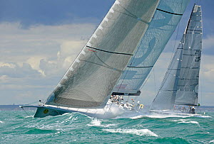 'ICAP Leopard' off The Needles to the west of the Isle of Wight during RORC Rolex Fastnet Race, England, August 2011. All non-editorial uses must be cleared individually.  -  Rick Tomlinson