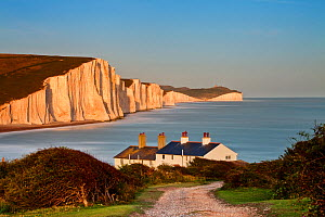 Path towards the coastguard cottages and the Seven Sisters Chalk Cliffs. Seaford Head Nature Reserve, East Sussex, UK, July 2009. - Guy Edwardes