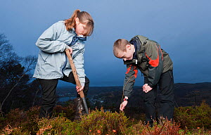 Children from Lochinver primary school planting trees on moorland at Culag Wood, Sutherland, Highlands, Scotland, UK, January 2011 - Niall Benvie / 2020VISION