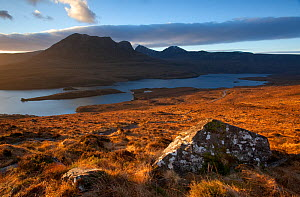 Dawn over Ben Mor Coigach and Loch Lurgainn, Inverpolly, Sutherland, Highlands, Scotland, UK, January 2011. Did you know? Ben Mor Coigach is the largest Scottish Wildlife Trust Reserve covering 6,000...  -  Peter Cairns / 2020VISION