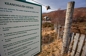 Sign advising walkers about deer stalking activities, Inverpolly, Sutherland, Highlands, Scotland, UK, January 2011 - Peter Cairns / 2020VISION