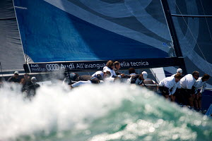 'Audi Azzurra Sailing Team' during a race on day five of the 2011 Audi MedCup Circuit event in Casais, Portugal, May 2011. All non-editorial uses must be cleared individually. - Chris Schmid