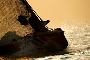 'Mascalzone' during a race in the Louis Vuitton Trophy. Dubai, United Arab Emirates, November 2010. All non-editorial uses must be cleared individually.  -  Chris Schmid