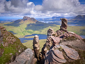 View from summit of Sgorr Tuath, sandstone pinnacles, Assynt mountains, Highland, Scotland, UK, June 2011. 2020VISION Exhibition. 2020VISION Book Plate. Did you know? Despite being one of the most nor...  -  Joe Cornish / 2020VISION