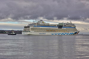 Germany's second largest cruise liner 'Aida Blu' arriving in Liverpool. River Mersey, England, August 2011. All non-editorial uses must be cleared individually. - Graham Brazendale