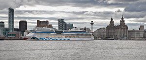 Panoramic image of cruise liner 'Aida Blu' berthed at the Liverpool Cruise Liner Terminal. River Mersey, England, August 2011. All non-editorial uses must be cleared individually. - Graham Brazendale
