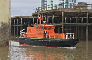Liverpool pilot boat 'Petrel' arriving at her moorings on the Cruise Liner Terminal. River Mersey, England, August 2011. - Graham Brazendale
