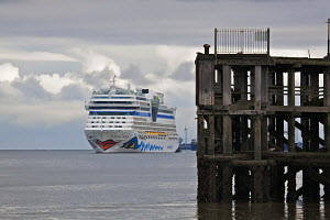 Cruise liner 'Aida Blu' approaching the old Princess Landing Stage as she arrives in Liverpool on the River Mersey, England, August 2011. All non-editorial uses must be cleared individually. - Graham Brazendale