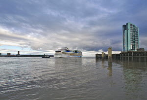 Cruise liner 'Aida Blu' arriving in Liverpool on the River Mersey, England, August 2011. All non-editorial uses must be cleared individually. - Graham Brazendale