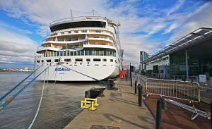 Cruise liner 'Aida Blu' berthed at the Liverpool Cruise Liner Terminal, River Mersey, England, August 2011. All non-editorial uses must be cleared individually. - Graham Brazendale
