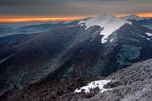 Dawn rising behind Polonina Carynska. Bieszczady National Park, the Carpathians, Poland, October 2009. - Grzegorz Lesniewski