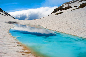 Blue ice melt pool in snow near the peak of La Munia Circo. The Pyrenees, Aragon, Spain, May 2011.  -  Inaki Relanzon