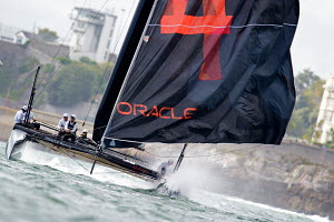 'Oracle Racing Spithill' during fleet race on day five of the America's Cup World Series in Plymouth, England, September 2011. All non-editorial uses must be cleared individually. - Chris Schmid