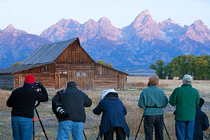 Photographers photographing Moulton Barn, rear view, Grand Teton National Park, Wyoming, USA, September 2008  -  Peter Cairns