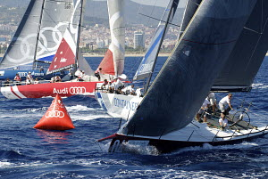 Fleet rounding mark during the Audi MedCup Circuit event in Barcelona, Spain, September 2011. All non-editorial uses must be cleared individually. - Franck Socha