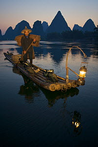 Chinese Fisherman on his raft with Great Cormorant (Phalacrocorax carbo sinensis), against the karst hills at the Li River. Yangshuo, Guangxi, China, November.  -  Florian Möllers