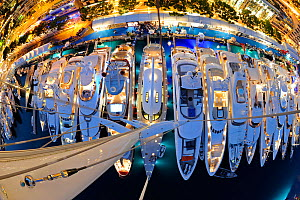View of crowded harbour from the top of 'Zafera's' mast at night during the Monaco Boat Show, September 2011. All non-editorial uses must be cleared individually.  -  Rick Tomlinson