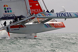 MOD 70 trimaran 'Foncia' heeling during the Krys Match, La Trinite-sur-Mer, Brittany, France, October 2011. All non-editorial uses must be cleared individually.  -  Benoit Stichelbaut