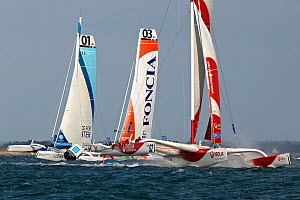 MOD 70 trimarans 'Race for Water', 'Foncia' and 'Veolia Environnement' racing during the Krys Match, La Trinite-sur-Mer, Brittany, France, October 2011. All non-editorial uses must be cleared individu...  -  Benoit Stichelbaut