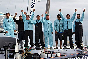 Victorious team on board MOD 70 'Race for Water' following the Krys Match, La Trinite-sur-Mer, Brittany, France, October 2011. All non-editorial uses must be cleared individually.  -  Benoit Stichelbaut