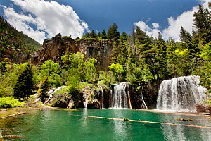Hanging Lake and Bridal Veil Falls. Colorado, White River National Forest, USA, June.  -  Doug Wechsler