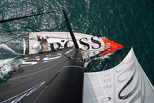 Open 60 'Hugo Boss' viewed from top of mast. The Solent, Hampshire, England, August 2006. All non-editorial uses must be cleared individually.  -  Nic Compton