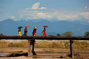 Women of the Bodo community walking across an old wooden bridge on a hot pre-monsoon afternoon in the foothills of the Bhutan Himalayas, Assam, India, September 2009 - Sandesh Kadur